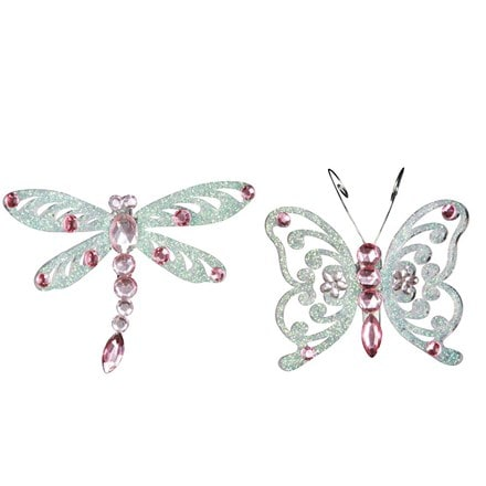 Pink diamante acrylic insect on clip