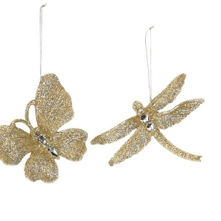 Gold glitter insects with jewels