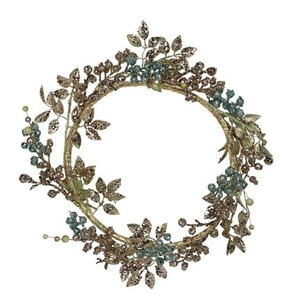 Pale gold and turquoise glitter leaf and berry wreath