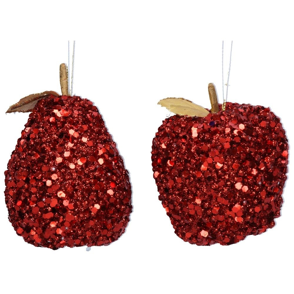 Red sequin fruit decoration