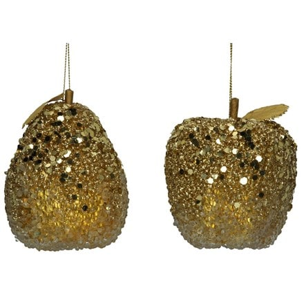 Old gold bead and sequin fruit