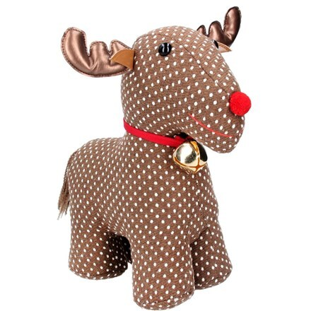 Brown fabric reindeer doorstop