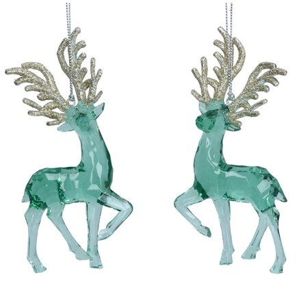 Clear green and gold glitter acrylic deer