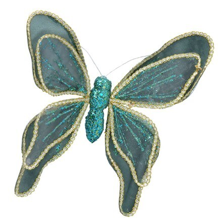 Turquoise and gold fabric butterfly clip