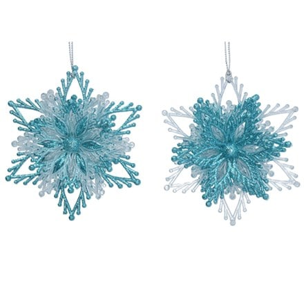 Turquoise and clear acrylic layered snowflake