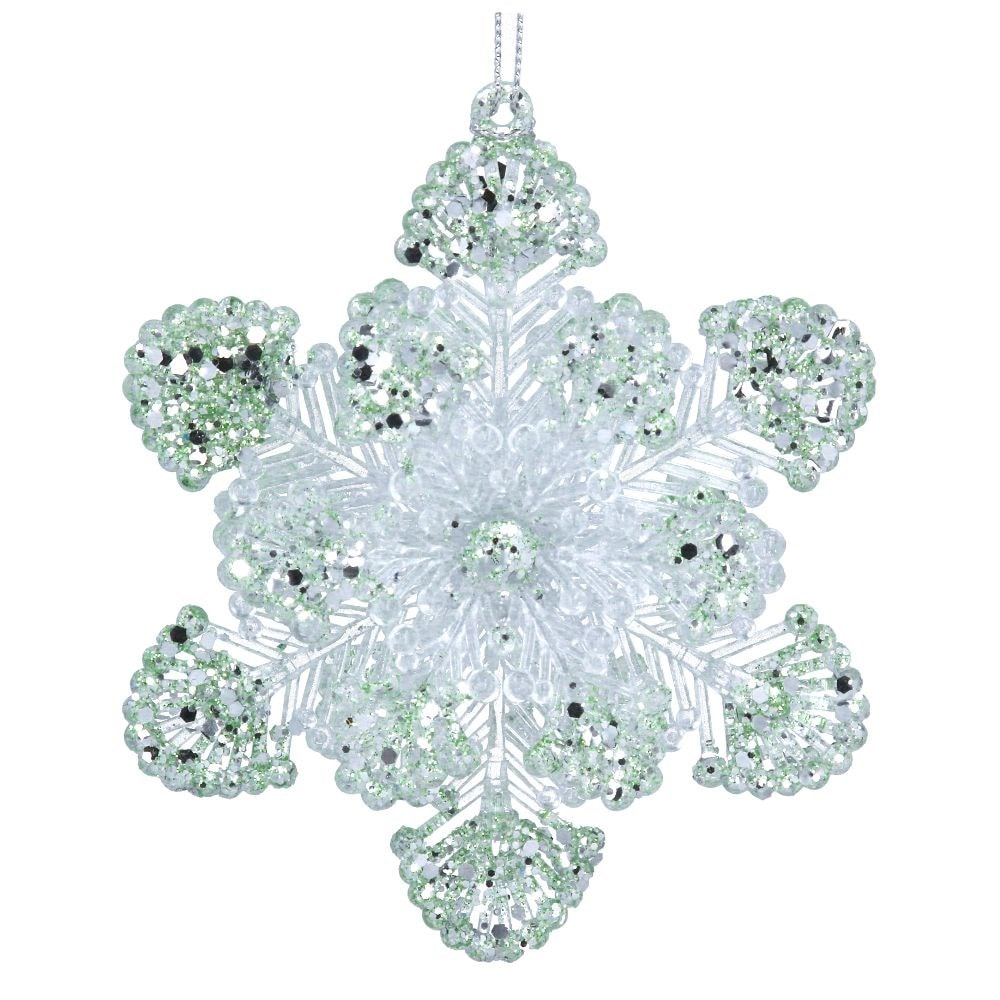 Pale green and iridescent acrylic snowflake