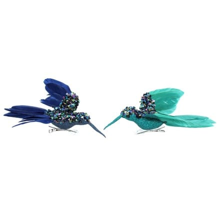 Blue and turquoise sequin and feather hummingbird