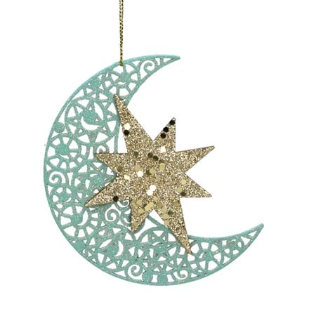 Turquoise and gold glittered wood moon with star