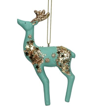 Turquoise and gold resin reindeer