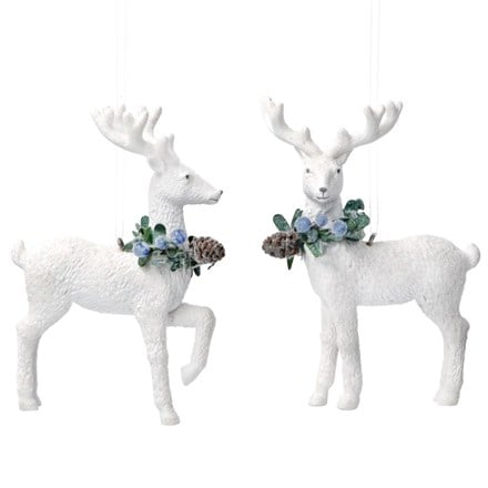 White resin reindeer with eucalyptus and blueberries