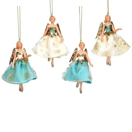 Turquoise gold and cream resin and fabric fairy