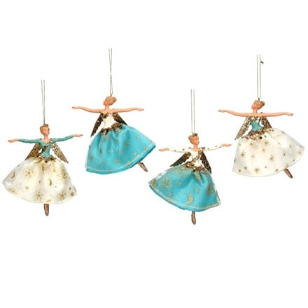 Teal gold and cream resin and fabric fairy