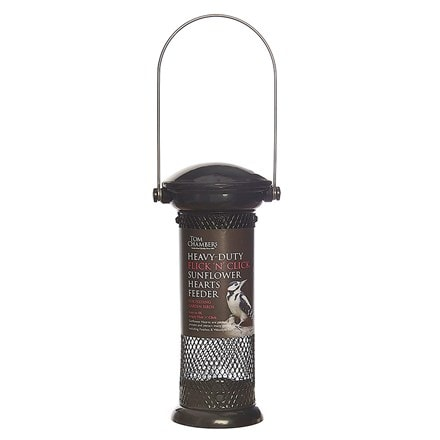 Heavy duty flick and click sunflower heart feeder