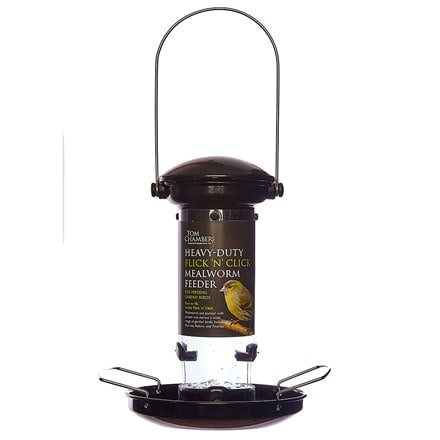 Heavy duty flick and click mealworm feeder