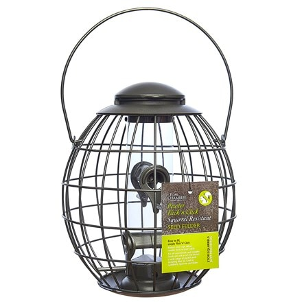 Pewter flick n click squirrel resistant seed feeder
