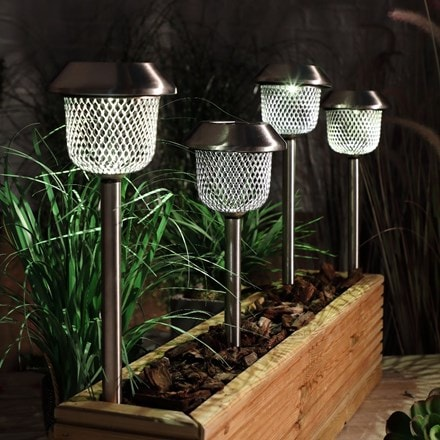 White mesh stake lights - set of four