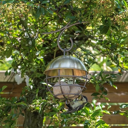 Brushed brass satellite fat ball feeder