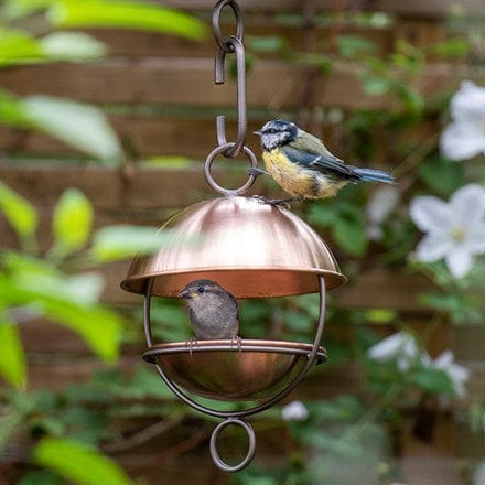 Brushed copper satellite bird seed feeder