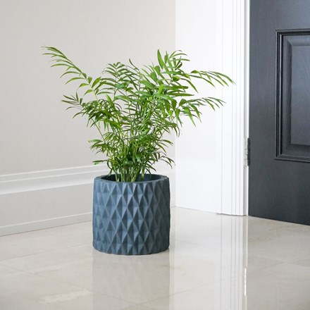 Diamond cement planter teal