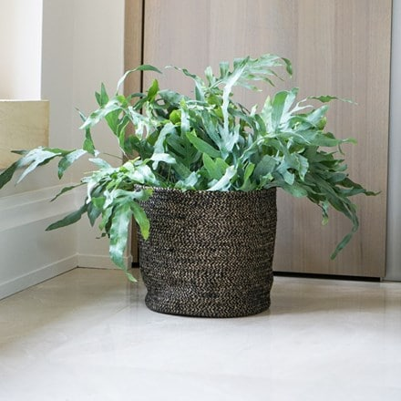 Bergen jute anthracite lined planter