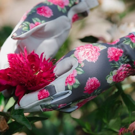 Floral backed leather gloves