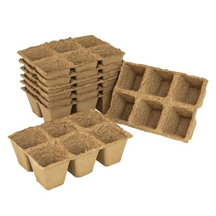 Square fibre pots - pack of 8