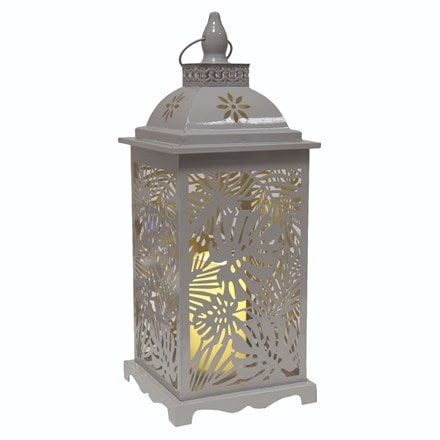 LED leaf lantern - grey